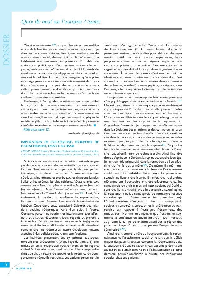 Let41 V8-7_Let25 28/11/11 15:54 Page18                                          Quoi de neuf sur l'autisme ? (suite) DOSSI...