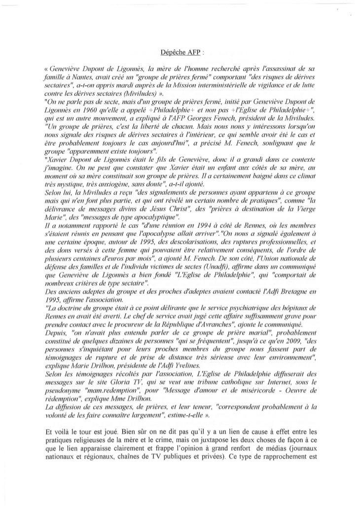 Dépêche AFP :« Geneviève Dupont de Ligonnès, la mère de lhomme recherché après lassassinat de safamille à Nantes, ffi1ait ...