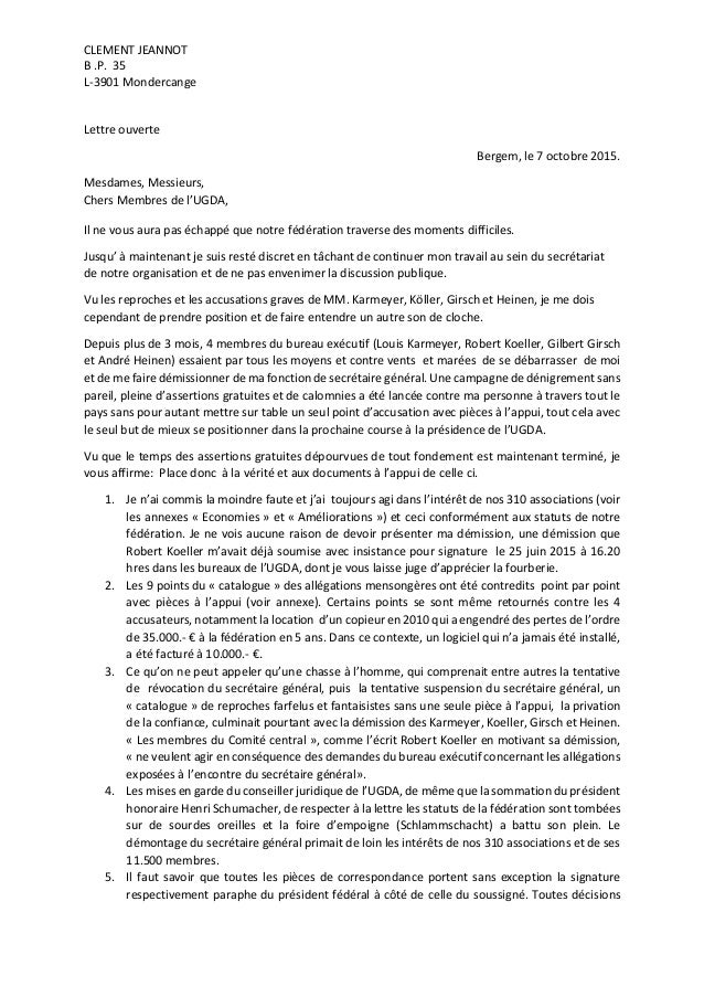 CLEMENT JEANNOT B .P. 35 L-3901 Mondercange Lettre ouverte Bergem, le 7 octobre 2015. Mesdames, Messieurs, Chers Membres d...