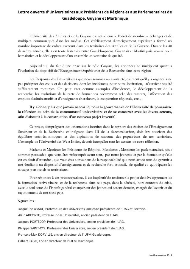 Lettre ouverte d'Universitaires aux Présidents de Régions et aux Parlementaires de Guadeloupe, Guyane et Martinique  L'Uni...