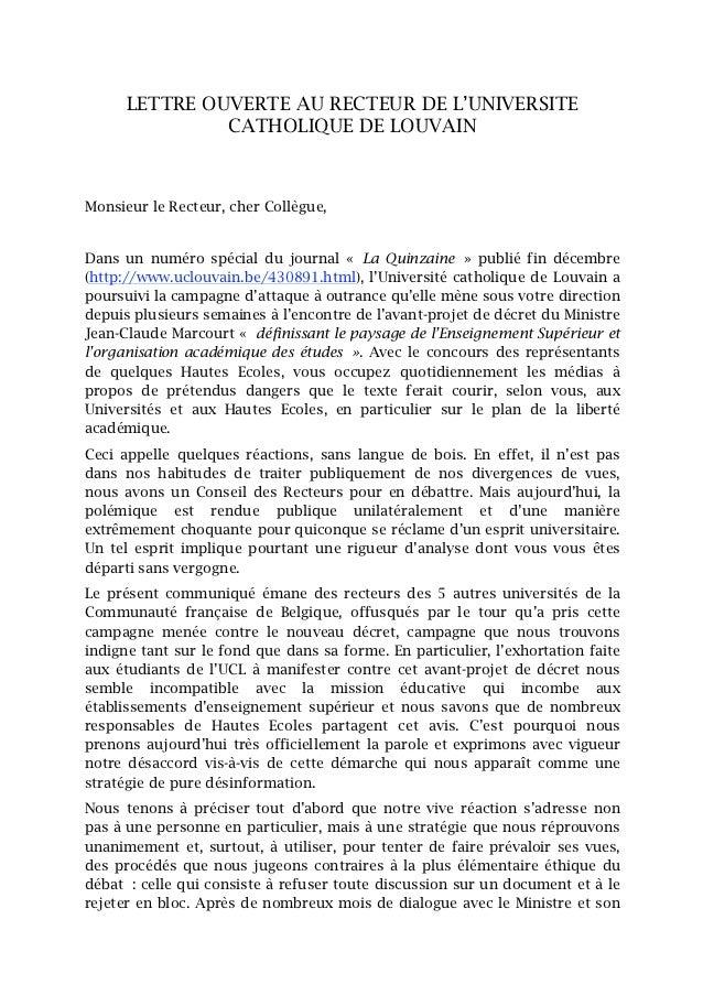 lettre ouverte des recteurs de 5 unifs