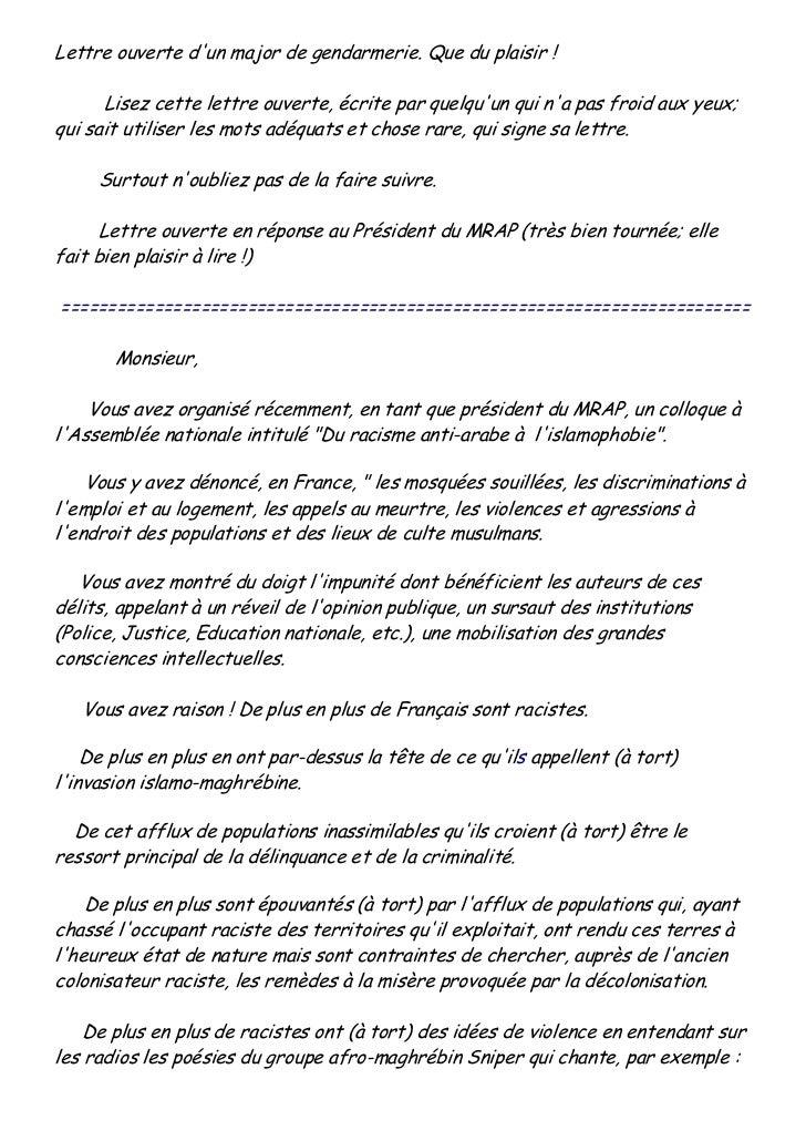 Lettre ouverte dun major de gendarmerie. Que du plaisir !      Lisez cette lettre ouverte, écrite par quelquun qui na pas ...