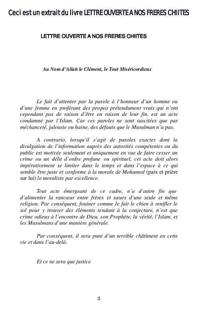 3 Au Nom d'Allah le Clément, le Tout Miséricordieux Le fait d'attenter par la parole à l'honneur d'un homme ou d'une femme...