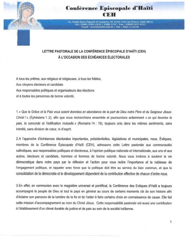 la Lettre pastorale des évêques d'Haïti à l'occasion  des élections