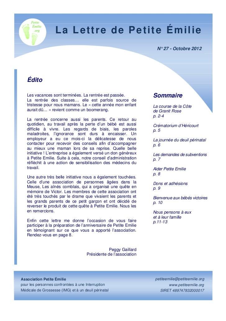 La Lettre de Petite Émilie                                                                      N° 27 - Octobre 2012   Édi...