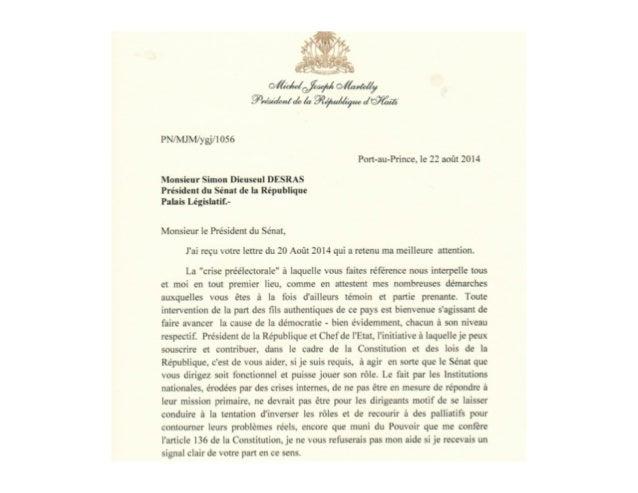 Reponse du President Miche Martelly au President du Sénat,  22 aout 2014
