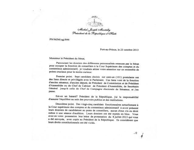 COUR SUPERIEURE DES COMPTES: LETTRE DU PRESIDENT MARTELLY AU SENAT DE LA REPUBLIQUE