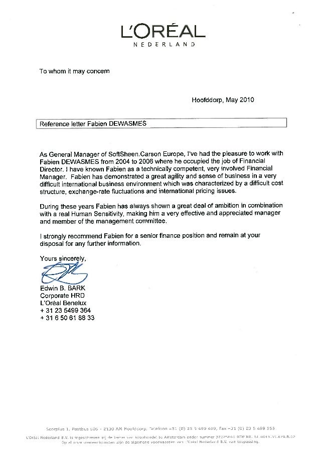 Reference Letter - Softsheen Carson Europe
