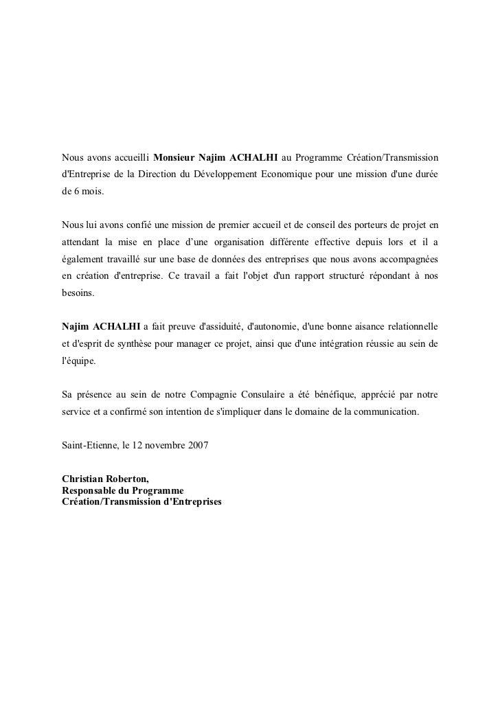 lettre de recommandation en français Lettre de recommandation CCI St Etienne lettre de recommandation en français