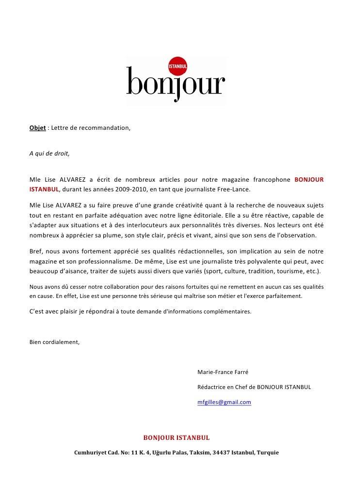 lettre recommandation bonjour istanbul