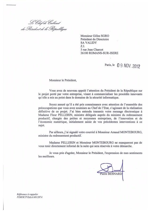 Lettre recue le 9 nov 2012 du chef de cabinet du pr sident de la r pu - Chef de cabinet du president de la republique ...