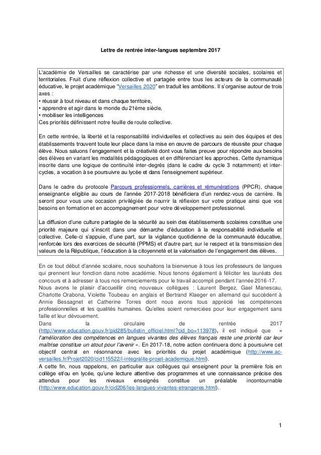 1 Lettre de rentrée inter-langues septembre 2017 L'académie de Versailles se caractérise par une richesse et une diversité...