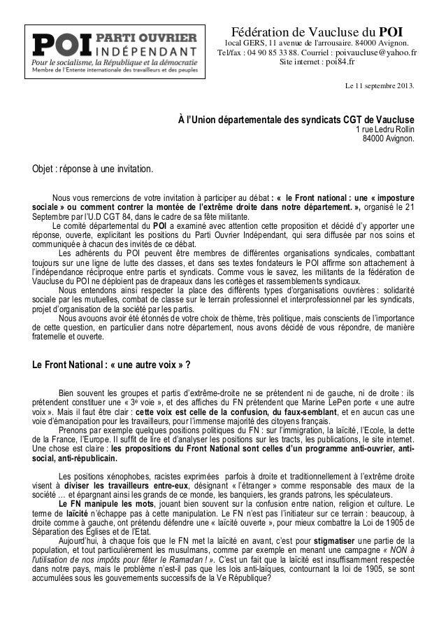 Fédération de Vaucluse du POI local GERS, 11 avenue de l'arrousaire. 84000 Avignon. Tel/fax : 04 90 85 33 88. Courriel : p...