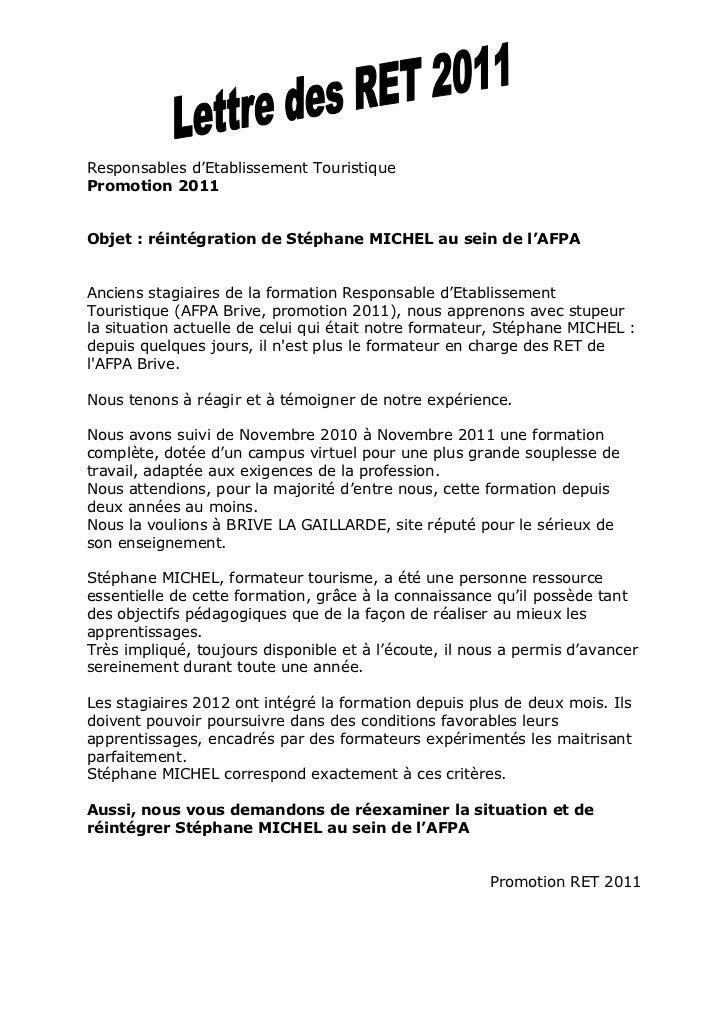 lettre de demission formation afpa Lettre des stagiaires RET Brive 2011 pour la réintégration de Stéphan… lettre de demission formation afpa