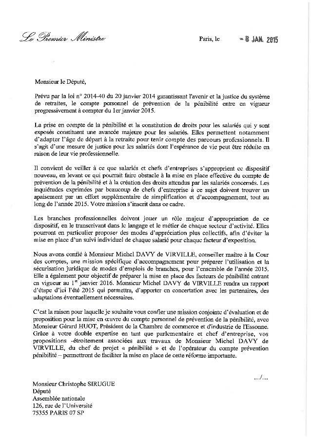 Lettres de mission de mm. sirugue et huot