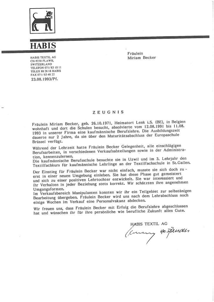 Lettres de références en suisse