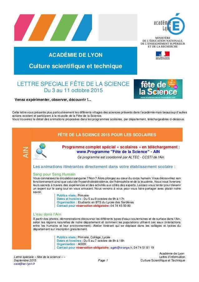 Lettre spéciale « fête de la science » – Septembre 2015 cast@ac-lyon.fr Page 1 Académie de Lyon Lettre d'information Cultu...