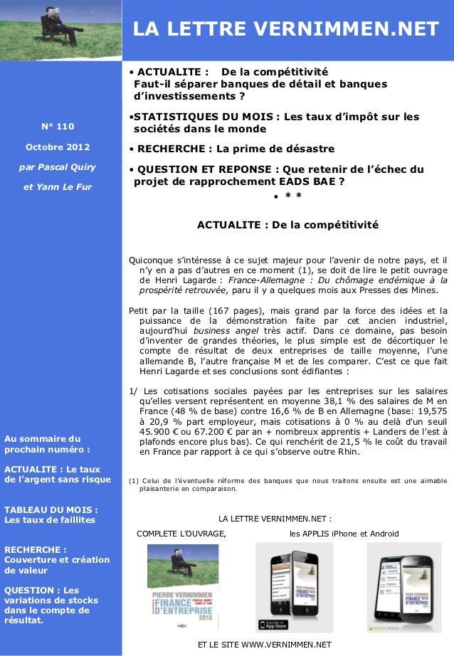 LA LETTRE VERNIMMEN.NET                          • ACTUALITE : De la compétitivité                           Faut-il sépar...