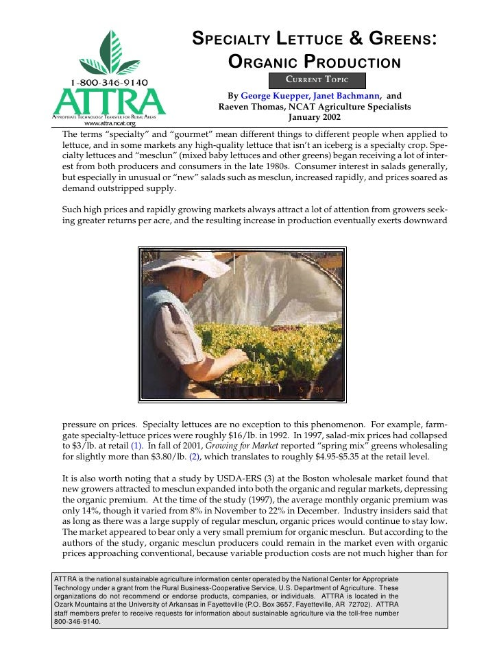 SPECIALTY LETTUCE & GREENS:                                                     ORGANIC PRODUCTION                        ...