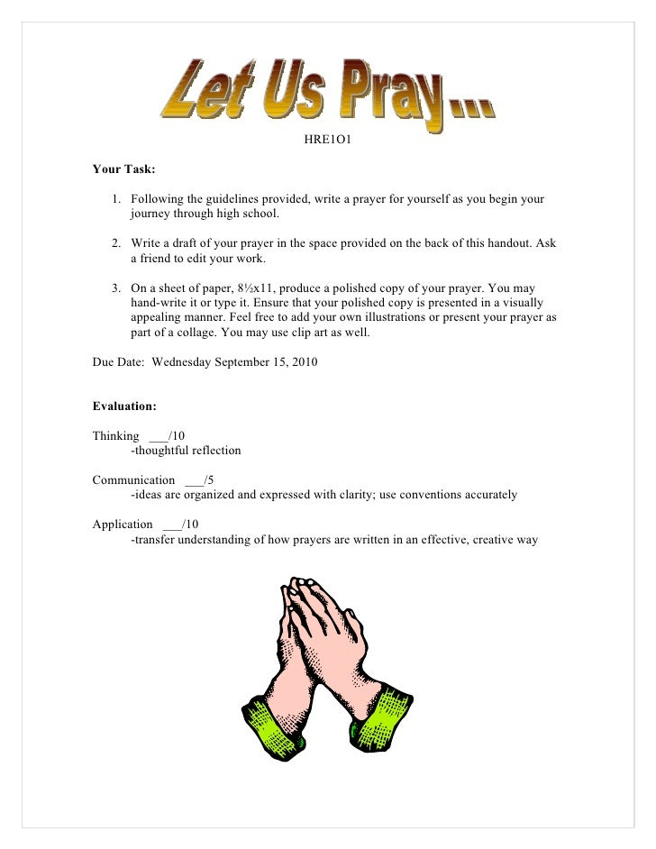 HRE1O1  Your Task:     1. Following the guidelines provided, write a prayer for yourself as you begin your       journey t...