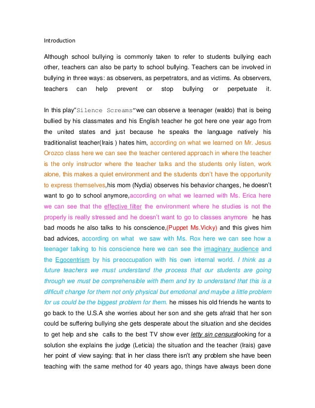 Essay About Bullying In The School