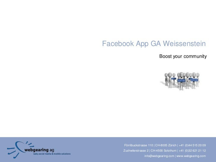 Facebook App GA Weissenstein                               Boost your community     Förrlibuckstrasse 110 | CH-8005 Zürich...