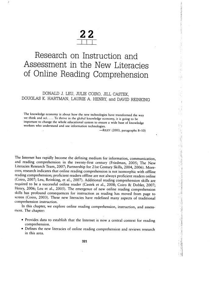Leu Hartman Reinking 2008 Research Online Reading Comprehension