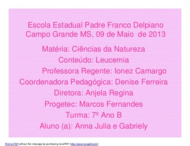 Escola Estadual Padre Franco Delpiano Campo Grande MS, 09 de Maio de 2013 Matéria: Ciências da Natureza Conteúdo: Leucemia...
