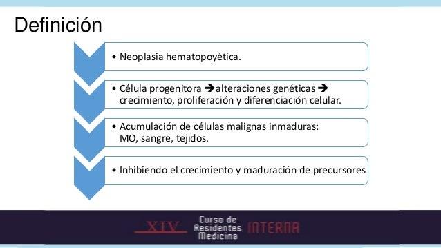 Clasificación• Según la estirpe:   • Linfoide.   • Mieloide.• Según la presentación:   • Aguda  Blastos >20%.   • Crónica...