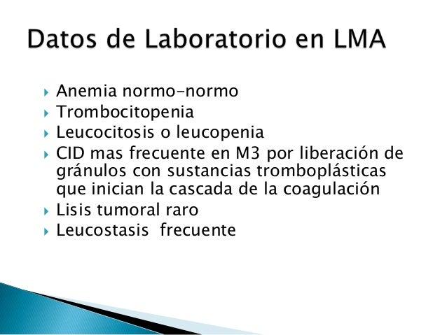  En LMA no existen factores pronósticos por sí sólo, desde que es LAM es de mal Pronóstico: excepto M2, M3 y M4 Eo