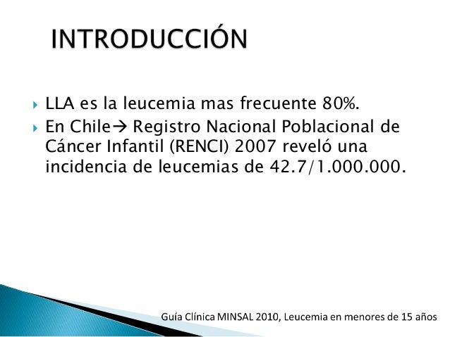 LAL LAM Factores aceptados Masculino 2-5 años Rx in útero o postnatal Sx Down Neurofibromatosis tipo I Sx Bloom Sx Schwach...