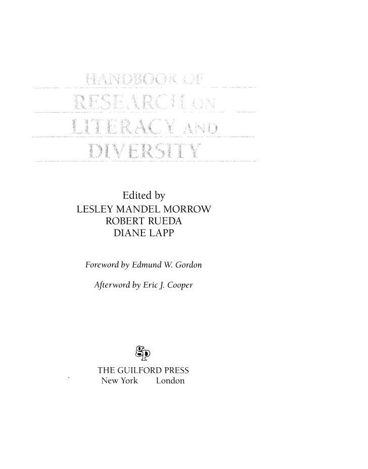 Edited by  LESLEY MANDEL MORROW       ROBERT RUEDA        DIANE LAPP     Foreword by Edmund W Gordon     Afterword by Eric...