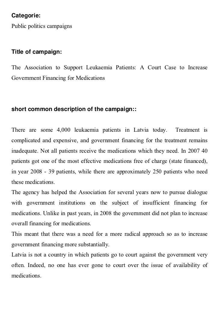 Categorie:Public politics campaignsTitle of campaign:The Association to Support Leukaemia Patients: A Court Case to Increa...