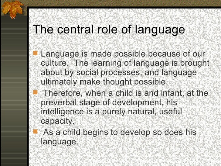 The central role of language  As a child begins to speak, his thought   processes also begin to develop. In   essence, it...