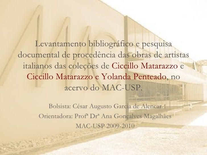 Levantamento bibliográfico e pesquisa documental de procedência das obras de artistas italianos das coleções de  Ciccillo ...