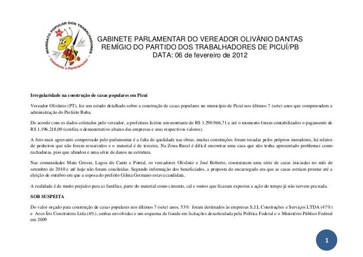 GABINETE PARLAMENTAR DO VEREADOR OLIVÂNIO DANTAS                                   REMÍGIO DO PARTIDO DOS TRABALHADORES DE...