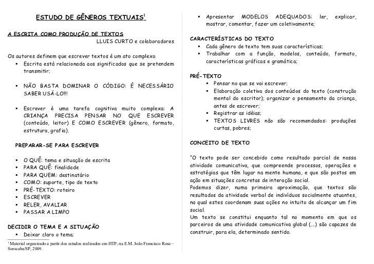 ESTUDO DE GÊNEROS TEXTUAIS1                                                         Apresentar MODELOS ADEQUADOS: ler,   ...