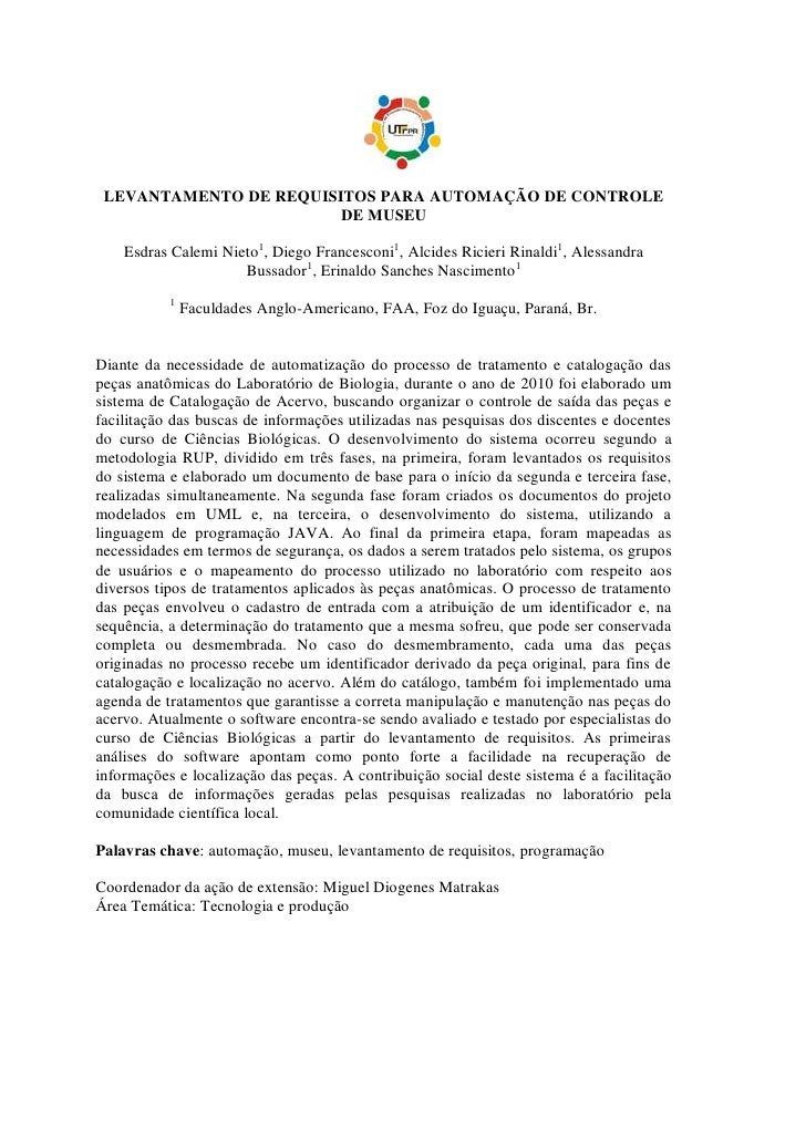 LEVANTAMENTO DE REQUISITOS PARA AUTOMAÇÃO DE CONTROLE                        DE MUSEU    Esdras Calemi Nieto1, Diego Franc...