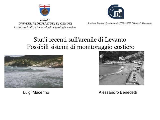 DISTAV UNIVERSITÀ DEGLI STUDI DI GENOVA Laboratorio di sedimentologia e geologia marina Studi recenti sull'arenile di Leva...