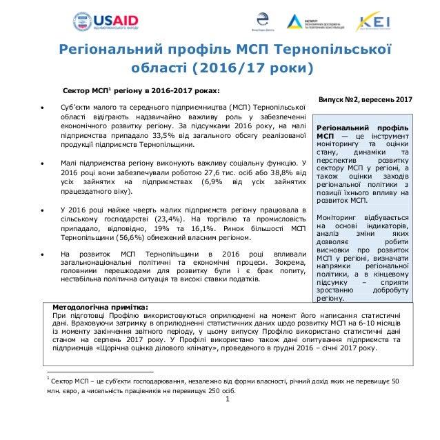 1 Регіональний профіль МСП Тернопільської області (2016/17 роки) Сектор МСП1 регіону в 2016-2017 роках:  Суб'єкти малого ...