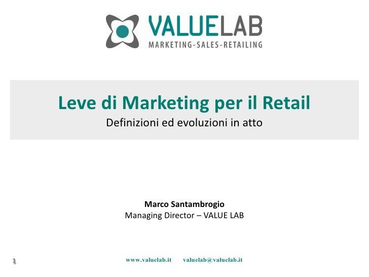 Leve di Marketing per il Retail          Definizioni ed evoluzioni in atto                     Marco Santambrogio         ...