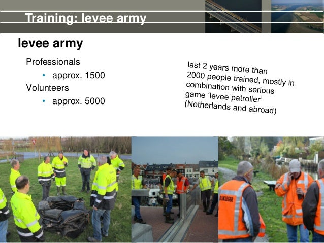 14 levee army Professionals • approx. 1500 Volunteers • approx. 5000 Training: levee army