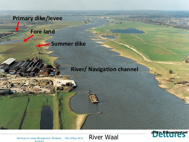 photo: Rijkswaterstaat River Waal Primary dike/levee Fore land Summer dike River/ Navigation channel 15th of May 2014Semin...