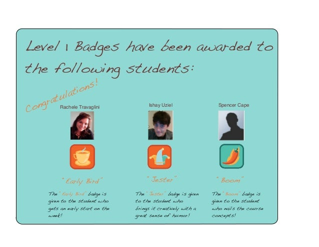 """Level 1 Badges have been awarded to the following students: ns! o lati  u rat Rachele Travaglini ong  C  """"Early Bird"""" The ..."""