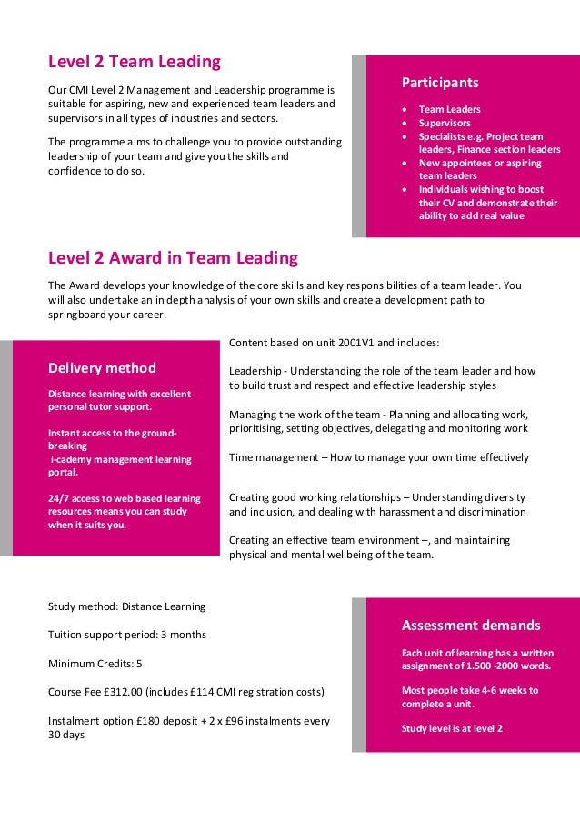 cmi level 5 Cmi level 5 certificate – management & leadership this qualification is ideal  for the development of supervisors, team leaders and junior managers.