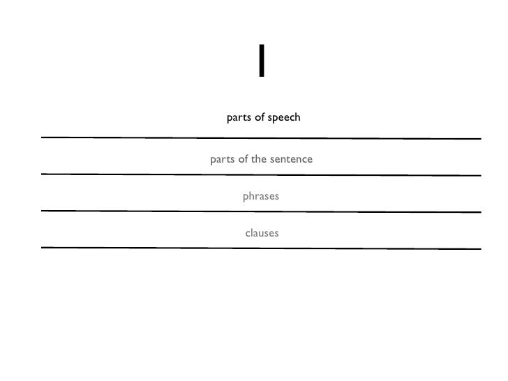 1   parts of speechparts of the sentence      phrases       clauses