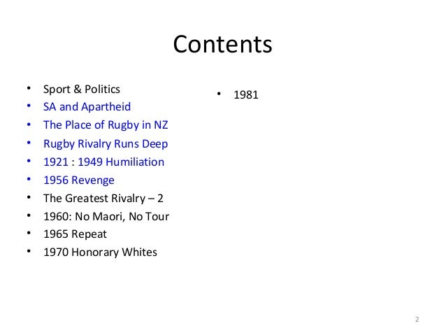 Contents • • • • • • • • • •  Sport & Politics SA and Apartheid The Place of Rugby in NZ Rugby Rivalry Runs Deep 1921 : 19...
