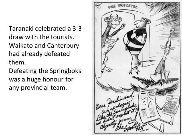 Taranaki celebrated a 3-3 draw with the tourists. Waikato and Canterbury had already defeated them. Defeating the Springbo...