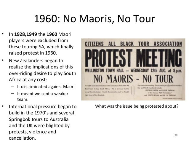 1960: No Maoris, No Tour •  •  In 1928,1949 the 1960 Maori players were excluded from these touring SA, which finally rais...