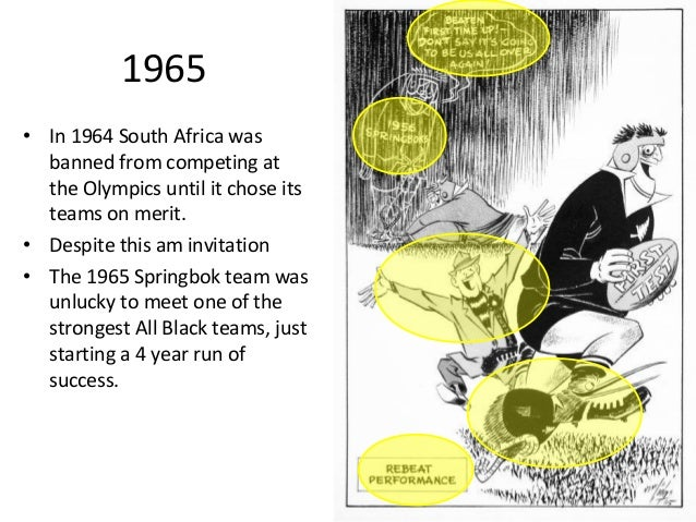 1965 • In 1964 South Africa was banned from competing at the Olympics until it chose its teams on merit. • Despite this am...